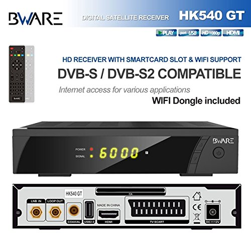 Receptor digital Sat/élite Full HD incluida Antena Exterior WIFI USB Dongle