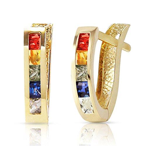 1.3 Carat 14k Yellow Gold Huggie Earrings Multicolor Sapphire