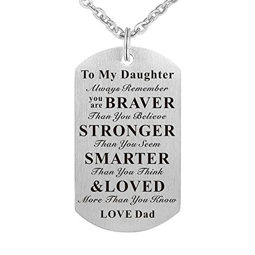 to My Daughter Kids Child Always Remember You are Braver Than You Believe Birthday Gift Jewelry Dog Tag Keychain Pendant Necklace from Dad