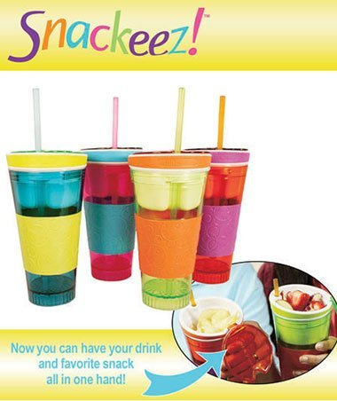 Snackeez Travel Cup Snack Drink in One Container Four color