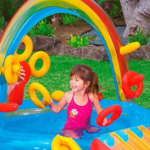 DSFGHE Rainbow Ring Play Centre,Inflatable Float Swim Boat ,Paddling Pool with Moveable Arch Water Spray.Activity Centre for Outdoor Summer Fun! by DSFGHE (Image #3)