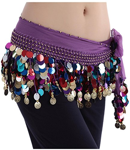 Belly Dancing Belt Colorful Waist Chain Belly Dance Hip Scarf with Sequins and Dangling Gold Coins , purple
