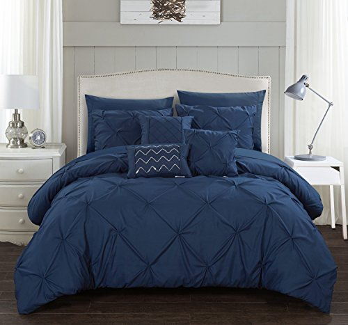 Chic Home Hannah 10 Piece Comforter Complete Bag Pinch Pleated Ruffled Pintuck Bedding with Sheet Set and Decorative Pillows Shams Included, Queen, Navy
