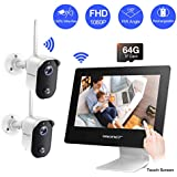 "【100% Wire-Free】 Rechargeable Battery Camera System,SMONET 4CH 1080P All-in-One 9"" Touched LCD Monitor with 2pcs 2MP Outdoor Wireless Security Cameras,2-Way Audio,Motion Detection,Free APP"