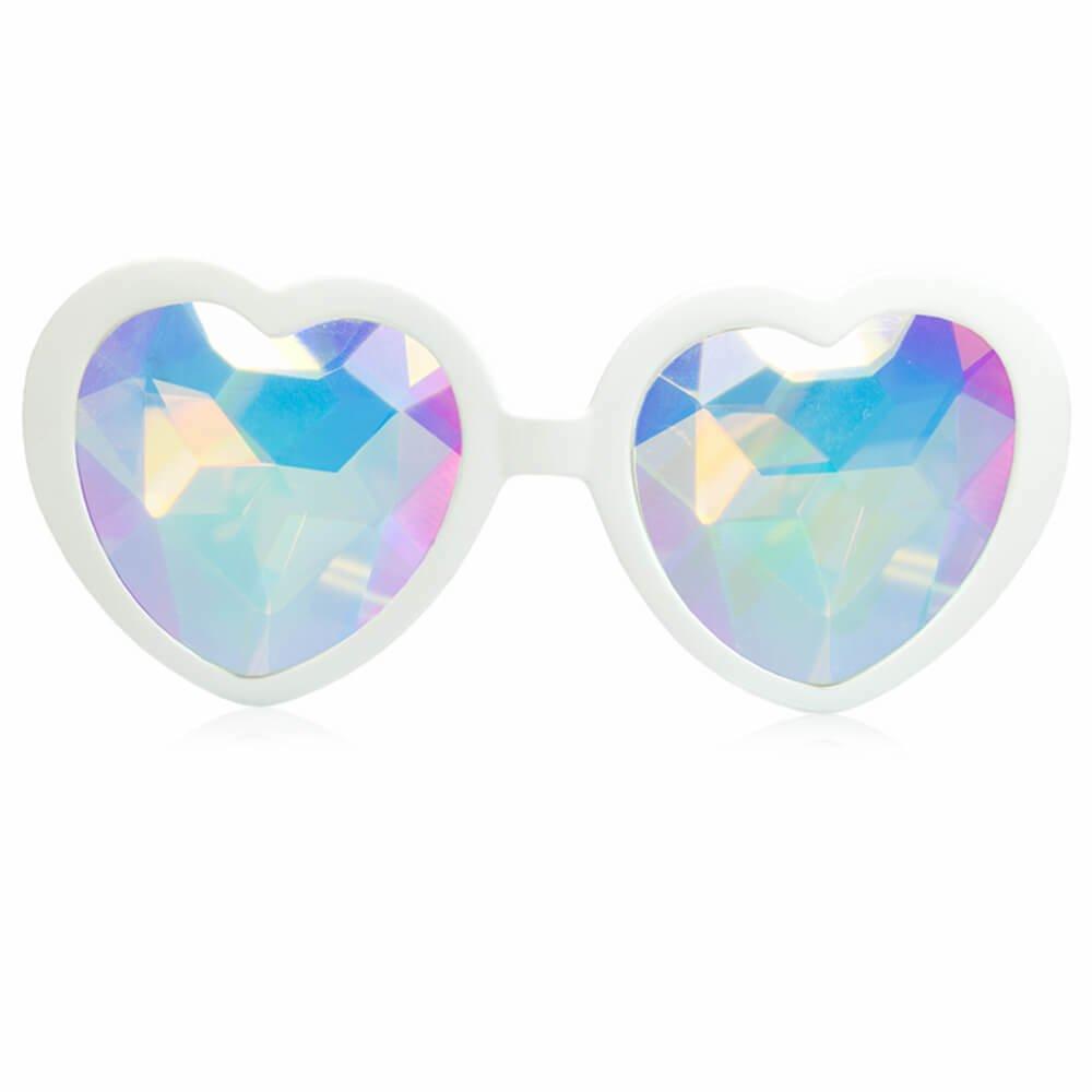 8b0a7ee8fe68 Galleon - GloFX White Heart Shaped Kaleidoscope Glasses - Festival Rave Edm  Concert Effect Plur (White)