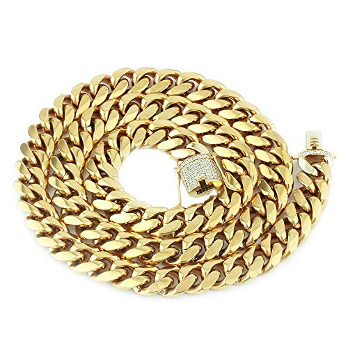 (GOLD IDEA JEWELRY 14k Gold Plated Stainless Steel Thick Miami Cuban Link Chain with Lab Diamond Clasp Men's Hip Hop Necklace & Bracelet (14k-Gold-Plated(14mm Wide), 20))