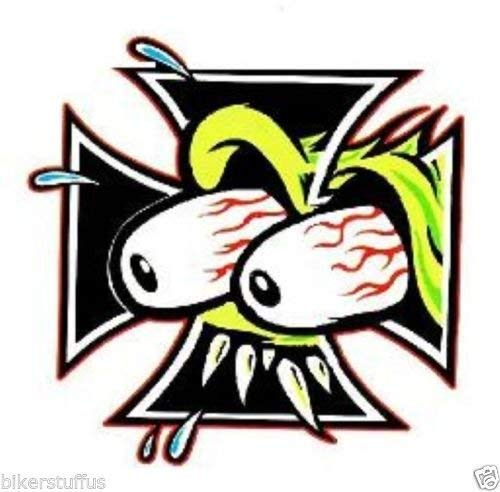 (MFX Design Rat Fink Iron Cross Sticker Decal Vinyl - Made in USA 2.5 in. x 2.5)