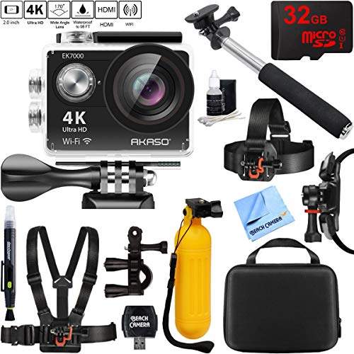 Akaso EK7000 Ultra HD 4k WIFI 170 Degree Wide Waterproof Sports Action Camera Black + 32GB Outdoor Adventure Mounting Bundle