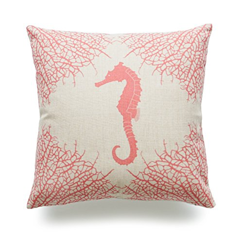 Hofdeco Throw Pillow Case Ivory Coral Seahorse Nautical HEAVY WEIGHT FABRIC Cushion Cover (Ivory Fabric Cushions)