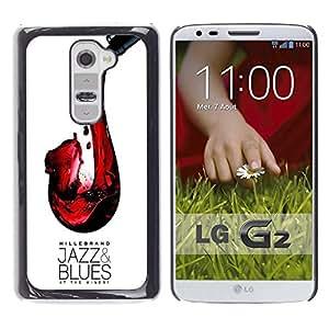 Be Good Phone Accessory // Dura Cáscara cubierta Protectora Caso Carcasa Funda de Protección para LG G2 D800 D802 D802TA D803 VS980 LS980 // Jazz Blues Wine Red Saxophone Art