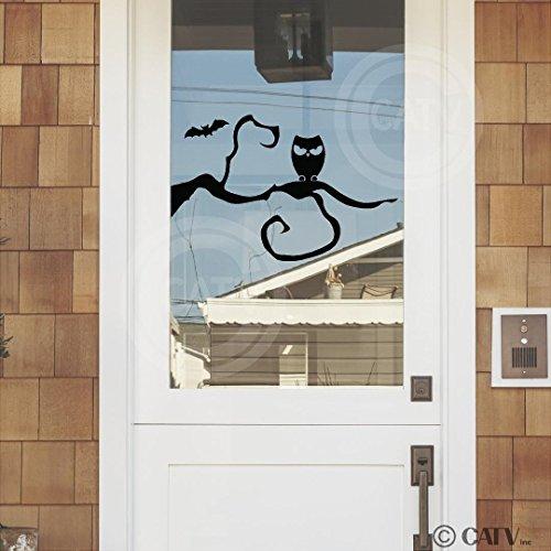 Halloween Owl On A Tree vinyl lettering decal home decor wall art sticker (Left 16x25) -