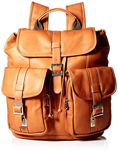 Piel Leather Medium Drawstring Backpack with Two Front Pockets, Saddle ()
