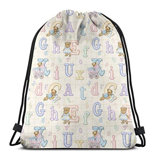 Teddy Tots Alphabet - Cream_10691 3D Print Drawstring Backpack Rucksack Shoulder Bags Gym Bag for Adult - Cream Alphabet