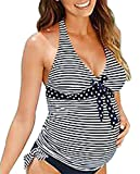 JINTING Striped Maternity Tankini Halter Two Piece Maternity Tankini Swimsuit for Women Size XL (Black)