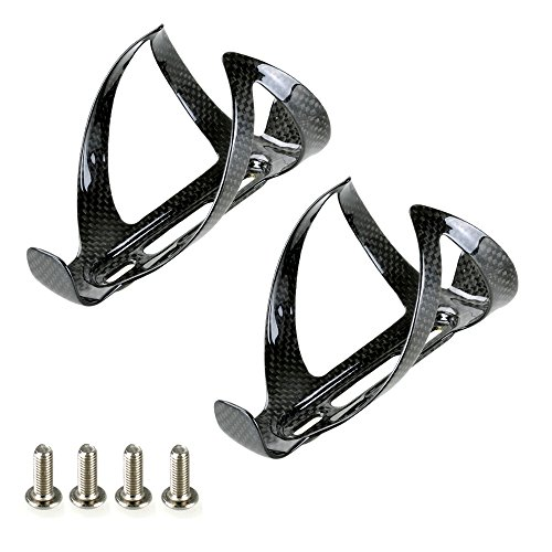 2pcs Carbon Fibre Water Bottle Cages Black For Cycling Road Bike Bicycle MTB (Water Cage Bottle)