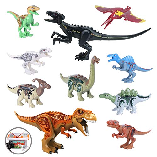 "Dinosaur Toys with Book, 12"" Jumbo Dinosaur Building Blocks 2 pcs, 5"" Mini Jurassic Dinosaur Miniature Action Figures Playset 8 pcs for Easter Basket Stuffers"