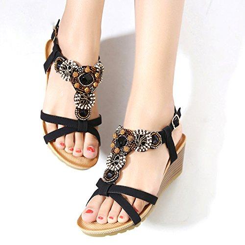 de des Bohème des Chaussures Mode Plage Sandales Femmes de avec Open de Strass Toe Noir D'été Ethnique Style Pente 0awqBI5