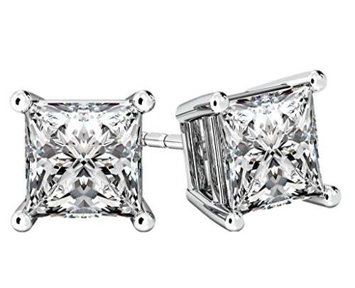 NANA Princess Cut Sterling Silver & Surgical Stainless Steel CZ Stud Earrings - Rhodium Plated - 6mm-2.50cttw