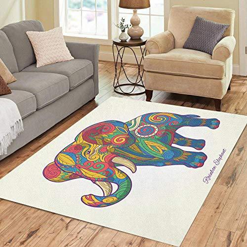 - Semtomn Area Rug 2' X 3' Colorful Elephant Pink Ethnic Tribal Tattoo Animal Stencil Abstract Home Decor Collection Floor Rugs Carpet for Living Room Bedroom Dining Room