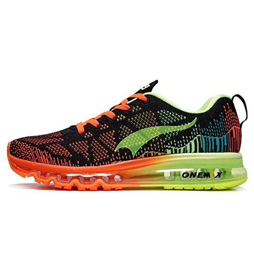Ginnastica Air ONEMIX Nero Verde Basse Uomo Running Corsa da Sportive Arancione Scarpe Sneaker Fluorescente T6wqwta