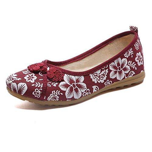 Flats On Feminino Embroidered Flat Sapato Ballerina Kenavinca Vintage Cotton red Linen Slip Comfortable Fabric Flower Old Women 6 Shoes Peking TYwtwRq