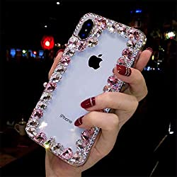 Border Pink Rhinestone With TPU Case for iPhone