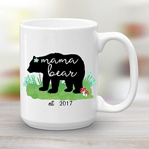 Mama Bear est 2017 Ceramic Coffee Mug, Baby Shower Gift New Mom, 15 oz