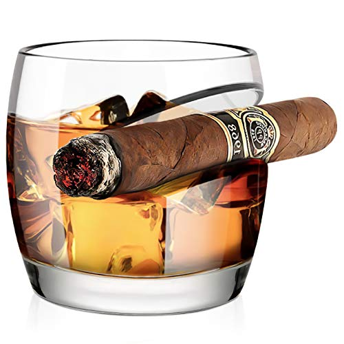 Old Fashioned Whiskey Glass, Kollea Cigar Whiskey Glass 15 Oz with Cigar Rest Holder, Gifts for Men Who Have Everything…