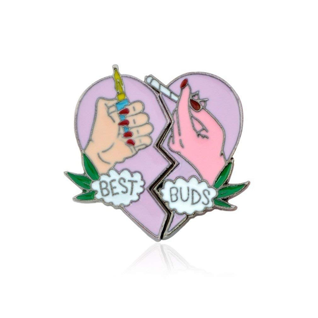 andy coolBest Buds BFF Brooch Pin Best Friends Cannabis Pot Matching Heart Lapel Pins Badge Friendship Birthday Gift Useful and Practical