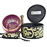 "NHZ Singing Bowl Set with free stick and cushion - Perfect Gift Set (4"" Pink/Black Set)"