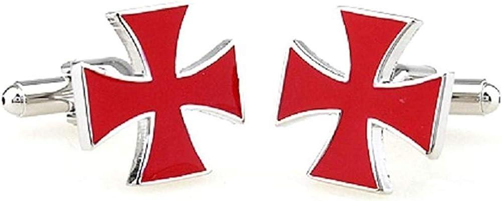 Knights Templar Red Cross Design Cufflinks Silver Cuff Links