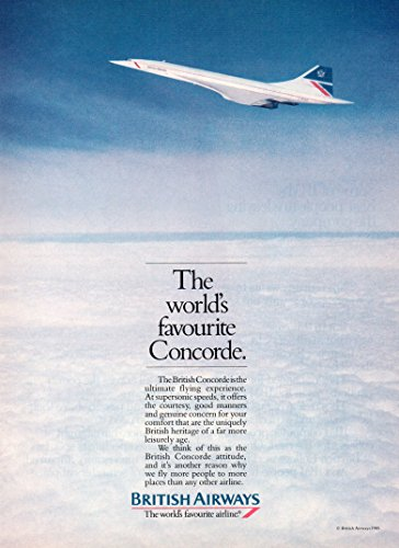 Vintage Magazine Print Ad: 1985 British Airways Concorde