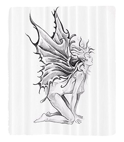 Chaoran 1 Fleece Blanket on Amazon Super Silky Soft All Season Super Plush Tattoo Decor Artistic Pencil Drawing Art Print Nude Fairy Opening its Angel Wings Fabric