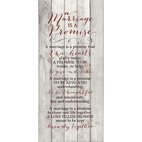 (Marriage Promise Wood Plaque Inspiring Quote 5.5x12 - Classy Vertical Frame Wall Hanging Decoration | A marriage is a promise that two hearts gladly make | Christian Family Religious Home Decor Saying)