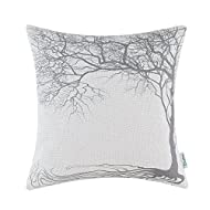 CaliTime Cushion Cover Throw Pillow Case Shell, Vintage Big Old Tree 18 X 18 Inches, Gray