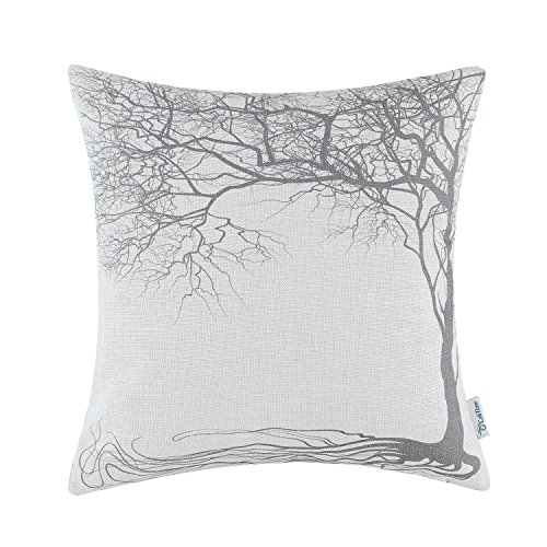 CaliTime Canvas Throw Pillow Cover Case for Couch Sofa Home Decoration Vintage Big Old Tree 18 X 18 Inches Gray