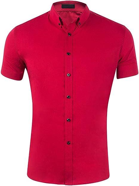 Camisa Manga Corta para Hombre con Botones Color Puro Deportes Tops con Solapa