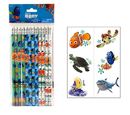 Nemo Tattoos Finding - FINDING DORY FINDING NEMO Party Favor Set Includes 12 Pencils and 12 Tattoos