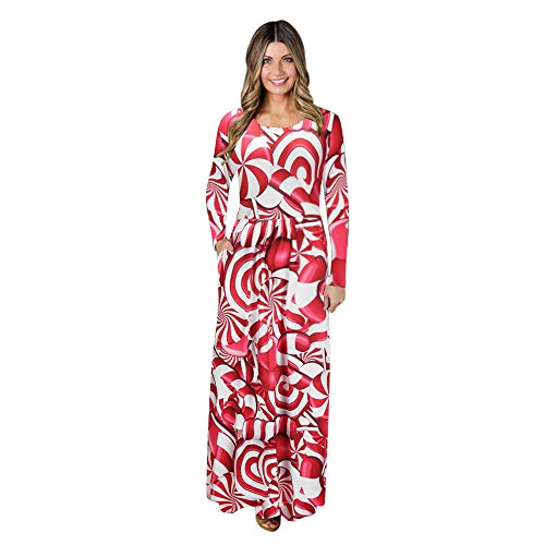 Clearance! iYBUIA Women Christmas Print Long Sleeve Dress Ladies Evening Party Long Maxi Dress -