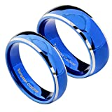 FlameReflection Blue Tungsten His & Hers Wedding Ring Sets Dome Top High Polished White Edge Comfort Fit 6&8mm