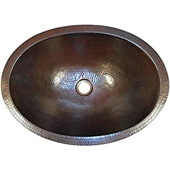 SimplyCopper 19  Oval Copper Bathroom Sink Undermount or Drop in