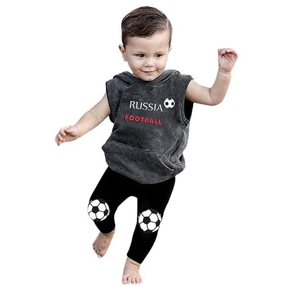 Btruely Herren Conjuntos Bebé Niño Carta de fútbol impresa con capucha Camiseta de Manga corta T