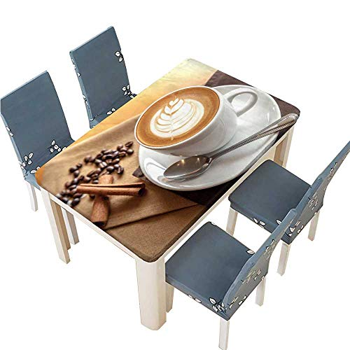 PINAFORE Spillproof Fabric Tablecloth Cup of Cafe' Latte with Coffee Beans and Cinnamon Sticks Kitchen Decoration Washable W29.5 x L69 INCH (Elastic - Cafe Runner Table Latte