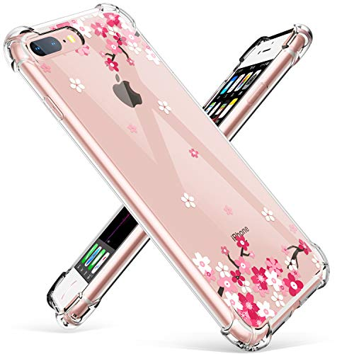 GVIEWIN Clear Case for iPhone 8 Plus/7 Plus, Flower Pattern Design Soft & Flexible TPU Ultra-Thin Shockproof Transparent Floral Cover, Cases for iPhone 7/8 Plus 5.5 Inch 2018 (Peach Blossom)