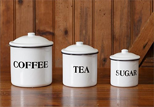 Set of Coffee Tea Sugar Storage Containers White Enamelware Farmhouse Country Inspired by (Enamelware Canister)