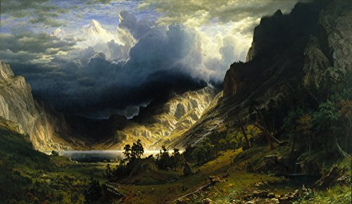 Berkin Arts Albert Bierstadt Giclee Canvas Print Paintings Poster Reproduction LARGE SIZE(A Storm in the Rocky (Bierstadt Canvas Painting)
