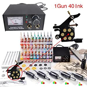 Tattoo starter kit 1 tattoo machine 40 color for Best tattoo starter kit