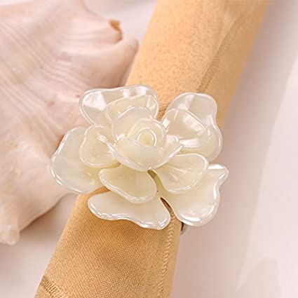YCT White flowers Napkin Rings for Wedding, Party, Holiday, Dinner Decor.A Set Of 6. (white)