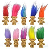 10PCS Mini Troll Dolls, PVC Vintage Trolls Lucky Doll Mini Action Figures 1.2″ Cake Toppers Chromatic Adorable Cute Little Guys Collection, School Project, Arts Crafts, Party Favors