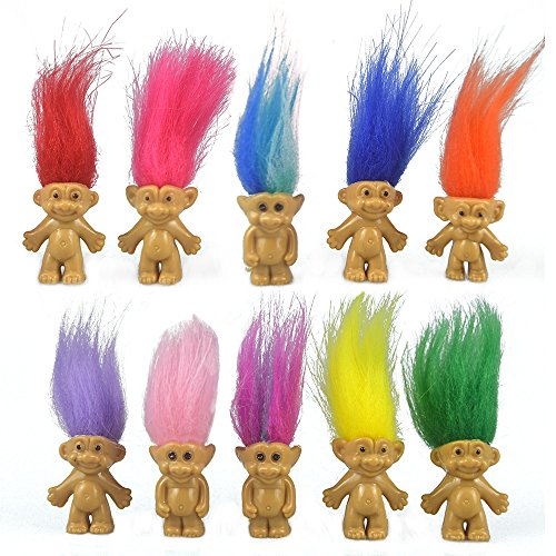 10PCS Mini Troll Dolls, PVC Vintage Trolls Lucky Doll Mini Action Figures 1.2